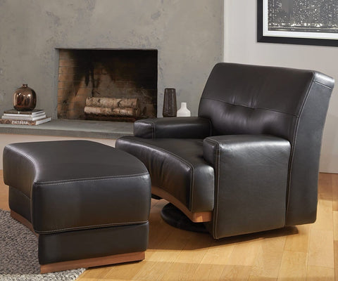 Julian Leather Ottoman - Black