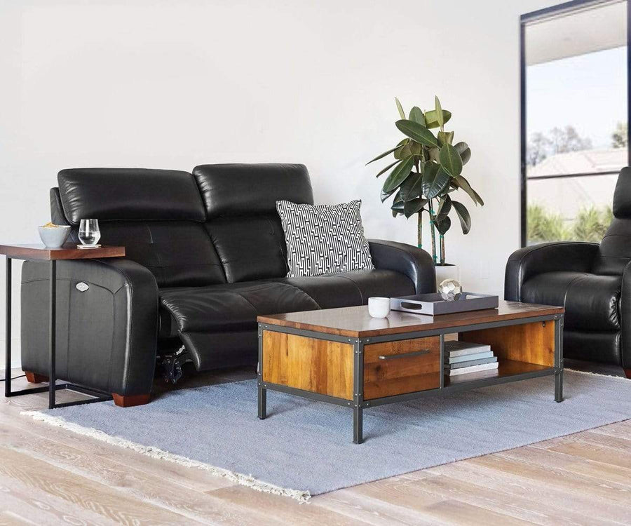 Larus Leather Power Reclining Sofa - Black