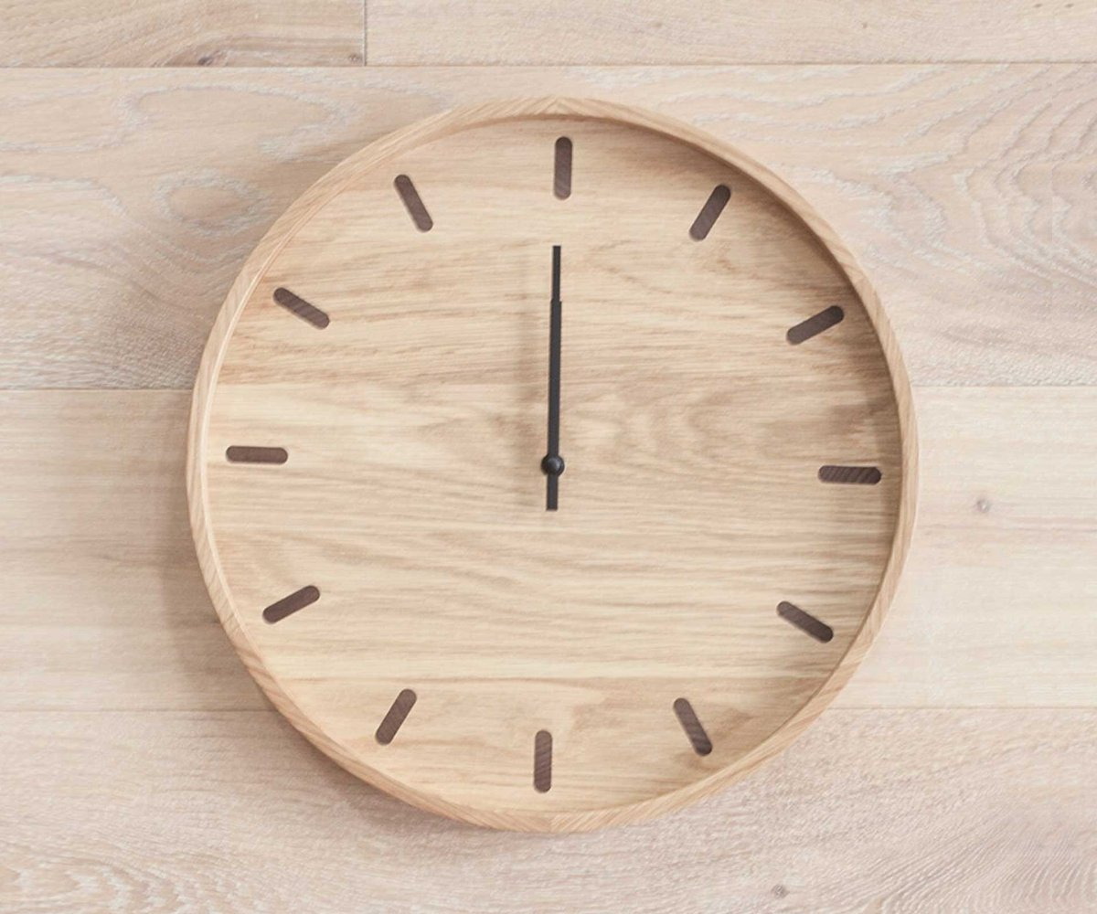 Light natural oak wood modern clock