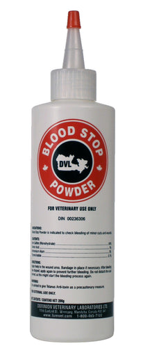BLOOD STOP Cattle Supply stops bleeding of minor cuts and wounds.