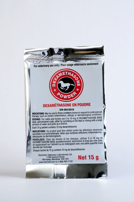 DEXAMETHASONE, 15G.  Horse medicine powder 30/box. Therapy for inflammation (30x15g).