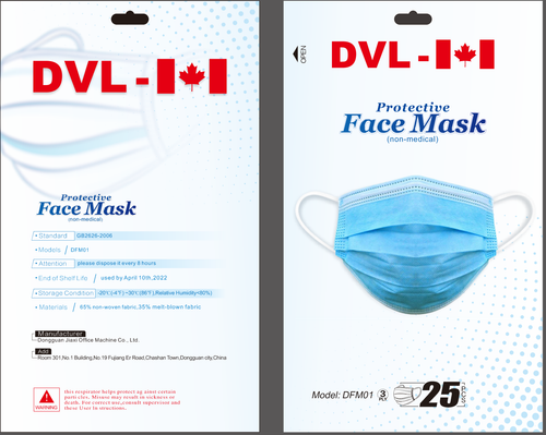 3-PLY  PROTECTIVE FACE MASKS 25 PACK (#DFMO1)