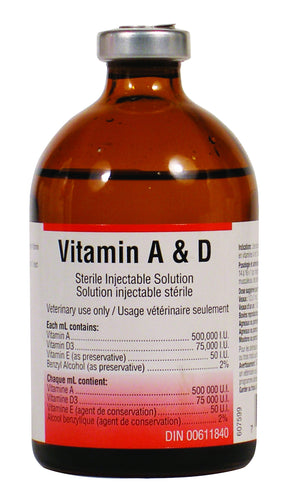 A&D INJECTABLE Cattle Supply Treatment of deficiencies in vitamin A and D in cattle, sheep and pigs.