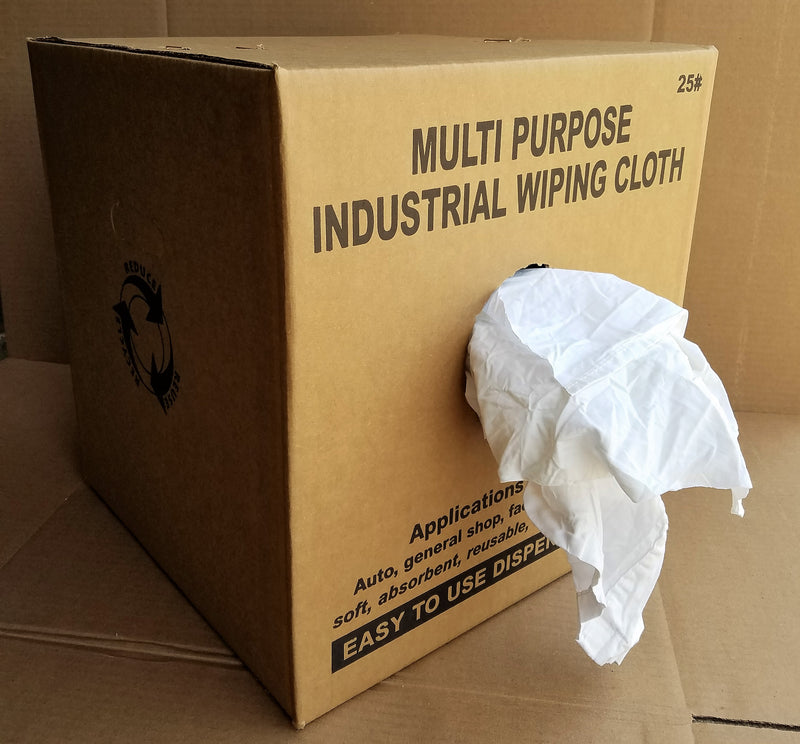 White Heavy Duty Cotton Rags - 25 LB Box
