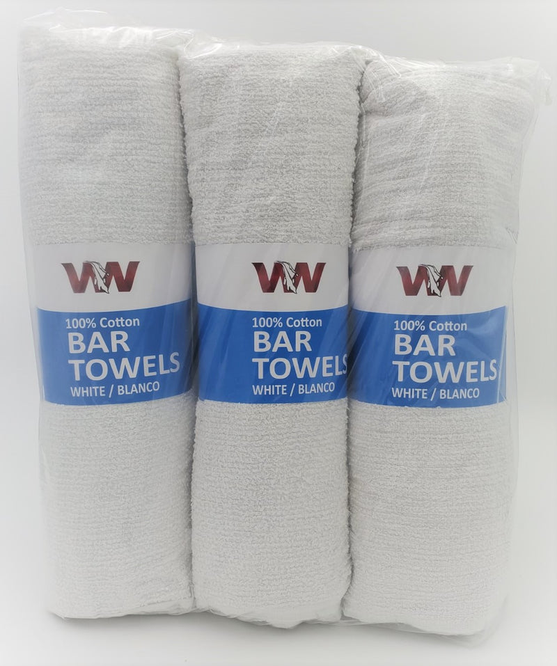 Terry Cotton Bar Towels - 6 Rolls of 12 (doz) Retail Packaging