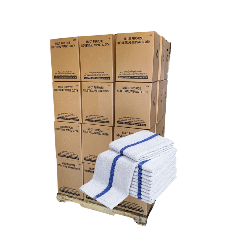 "Terry Bar Mop Towels Stripe 16""x19"" 180 Towels Pallets 24 Cases"
