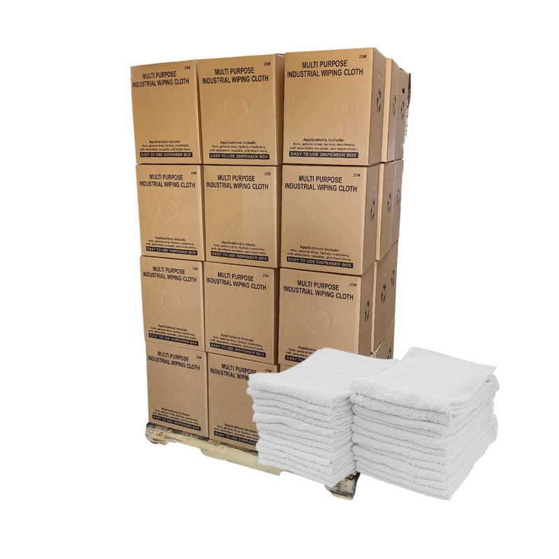 "Economy Ribbed Terry Towel Rags 14""x17"" Pallet of 24 Cases of 220 Towels"