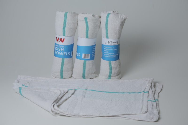 Dish Towels 100% Cotton 10 rolls of Half dzn (Retails Packaging)