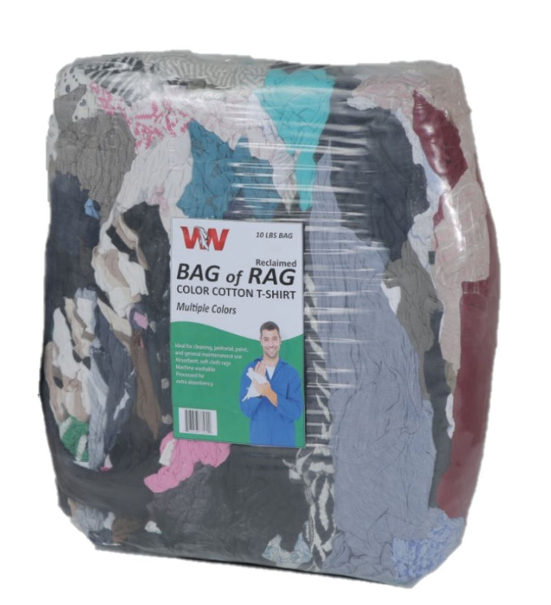 Color T-Shirt Knit Rags - 10 LB Rags in Bag