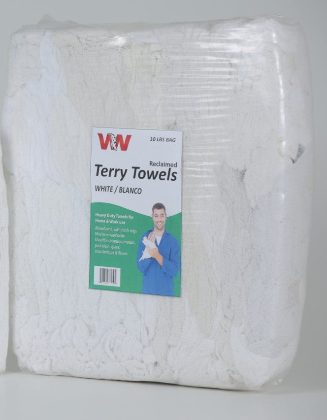 White Terry Cloth Towel Rags in Bag 10 lbs.