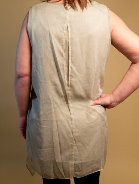 Picadilly - Sleeveless Embroidered Top in Taupe
