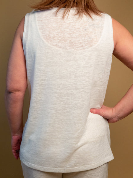 Picadilly - Button Tank in Off White