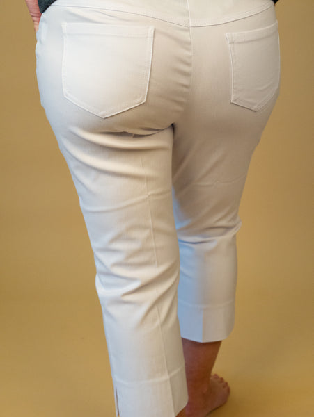 Renuar - Pull On Cropped Pants in White