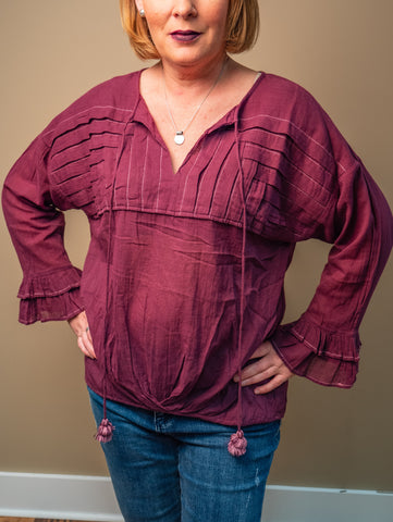 Ivy Jane - Plum Peasant Blouse
