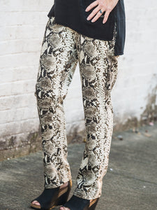 Picadilly - Animal Print Pants in Camel