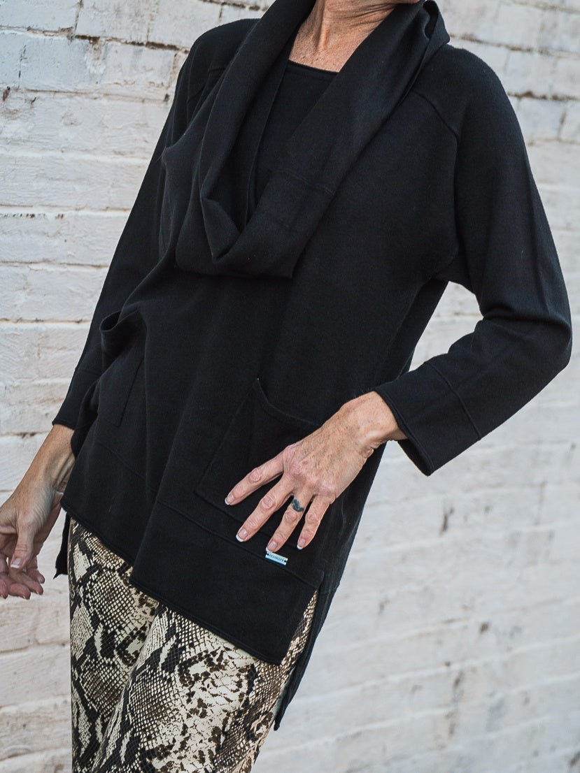 Picadilly - Black Drop Shoulder Top