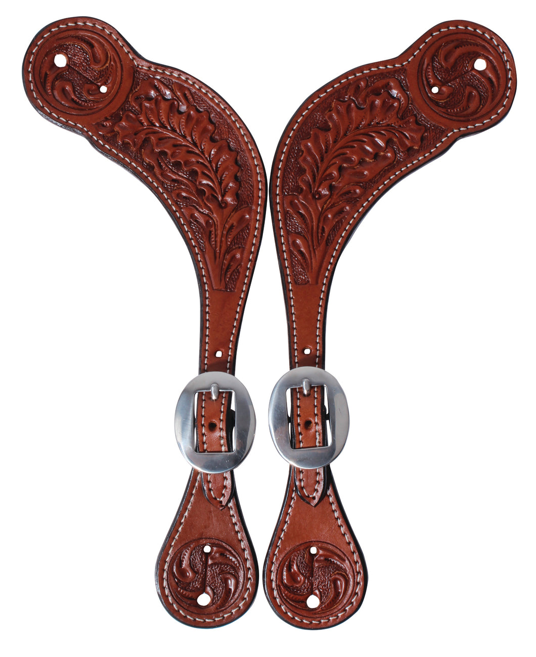 Pard's Western Shop Oak Leaf Tooled Pecos Spur Straps for Men from Professionals Choice