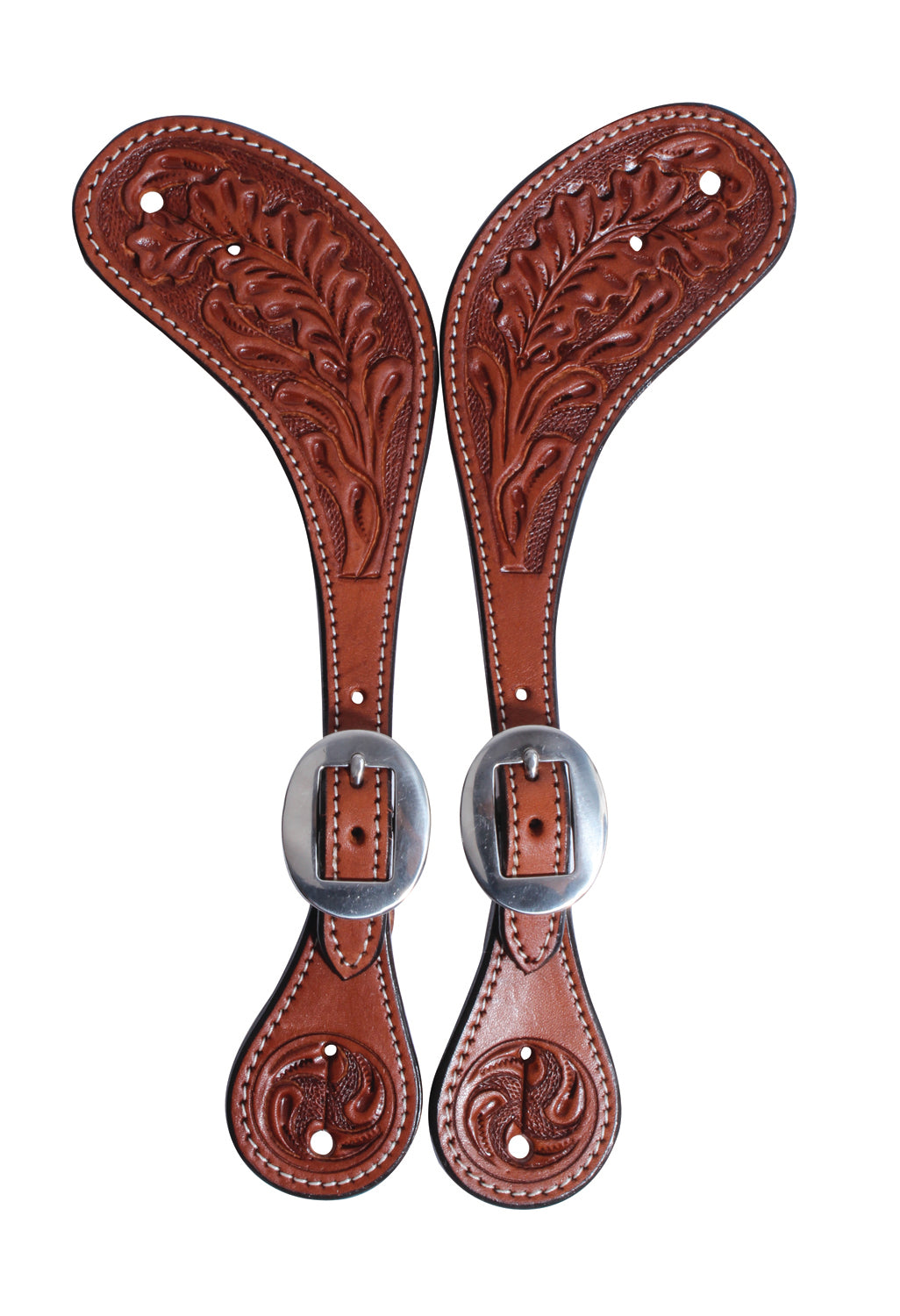 Pard's Western Shop Professional's Choice Collection Oak Leaf Tooled Muleshoe Spur Straps for Women