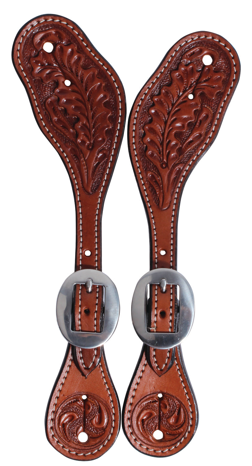 Pard's Western Shop Professional's Choice Collection Oak Leaf Tooled Stratford Spur Straps for Women or Youth