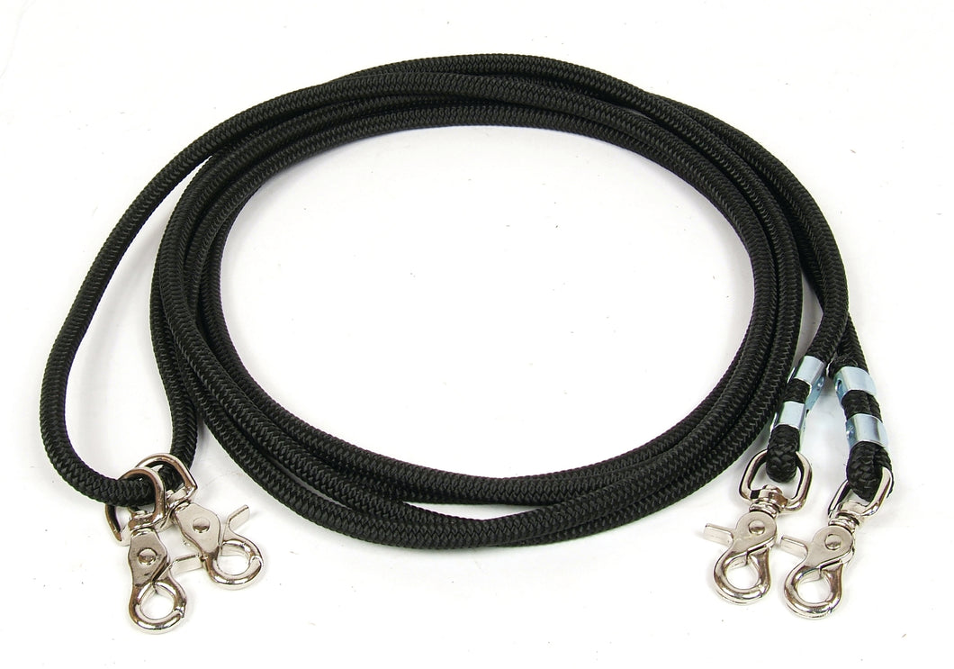 Firm Black Poly Cord Draw Reins