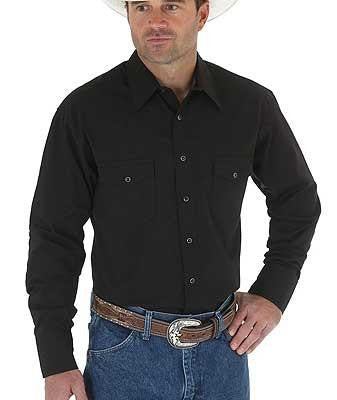 Men's Solid Black Western Snap Shirt from Wrangler