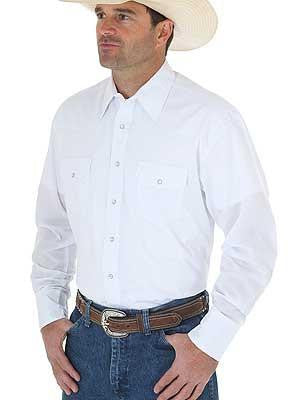 Men's Solid White Western Snap Shirt from Wrangler