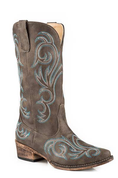 Vintage Brown Embroidered Riley Boots for Women from Roper Footwear