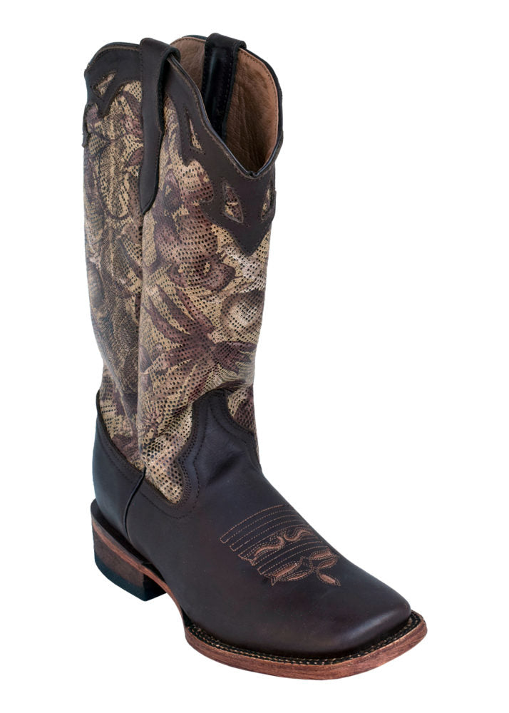 Pard's Western Shop Ferrini Mocha Floral Boots for Women