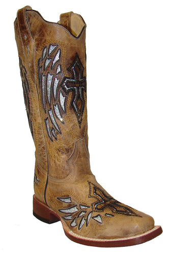 Ladies Glitter Cross Cowtown Fashion Western Boots