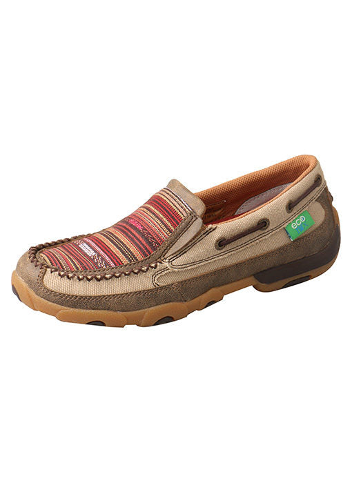 Twisted X Khaki/Multi Slip-On Driving Moc for Women