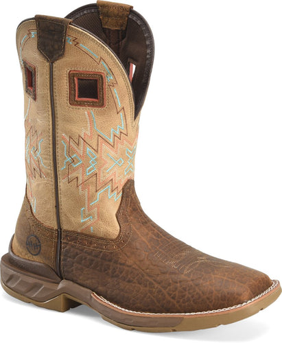 Double H Brown Buffalo Print Square Toe Roper Boots