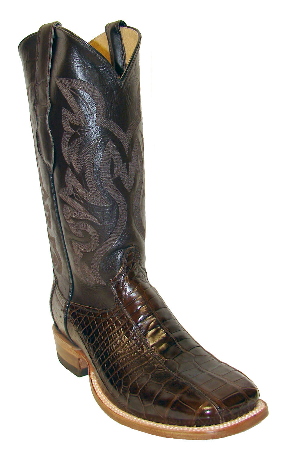 Cowtown Pieced Chocolate Gator Boots for Men - Pards
