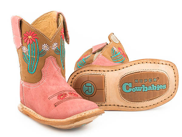 Pard's Western Shop Pink Cactus Infant Cowbabies Boots from Roper Footwear