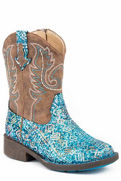 Pard's Western Shop Blue Glitter Aztec Boots for Toddlers from Roper Footwear