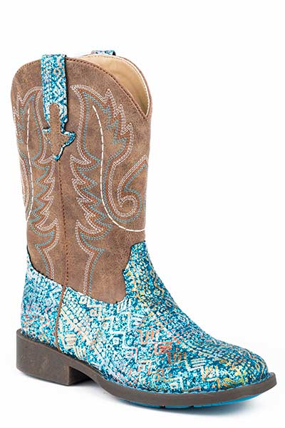 Pard's Western Shop Blue Glitter Aztec Boots for Children from Roper Footwe