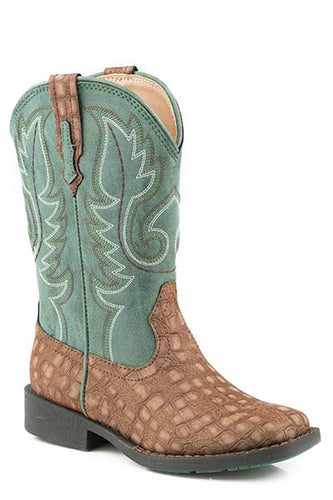 Pard's Western Shop Brown Embossed Caiman Print Boots for Children from Roper Footwear