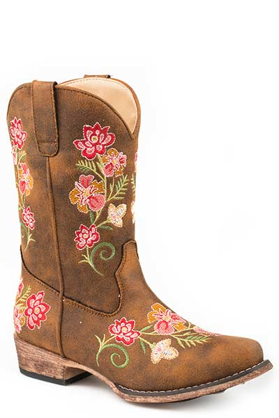 Tan Vintage Floral Juliet Boots for Children from Roper Footwear