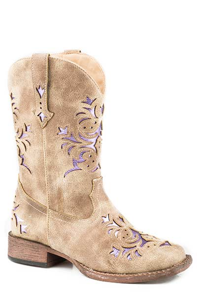 Pard's Western Shop Vintage Tan/Metallic Purple Lola Boots for Children from Roper Footwear