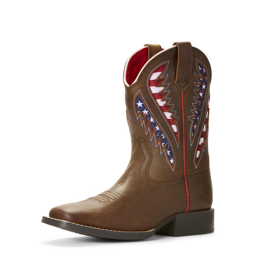 Pard's Western Shop Ariat Cowboy Brown Quickdraw VentTEK Boots with Stars/Stripes Inlay for Kids