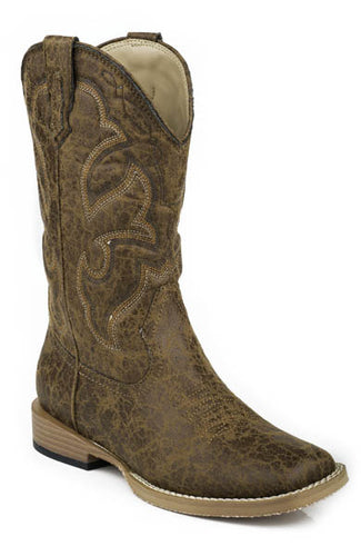 Pard's Western Shop Distressed Tan Scout Boots for Big Kids from Roper Footwear