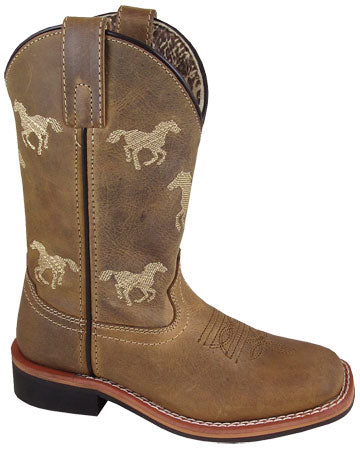 Distressed Brown Square Toe Rancher Boots for Kids from Smoky Mountain Boots