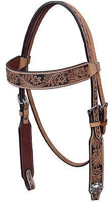 Bar H Equine Antique Floral Browband Headstall