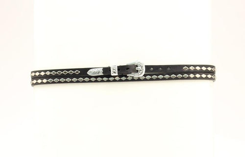 Black Hatband with Diamond Studs