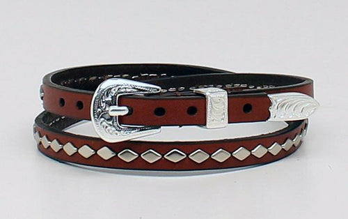 Brown Leather Hat Band with Diamond Studs