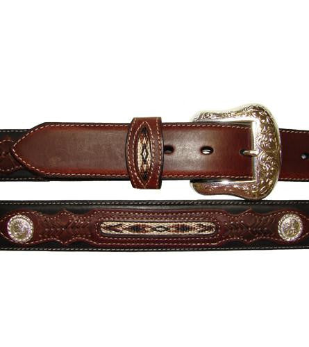 Black/Brown Western Design & Silver Conchos Leather Belt