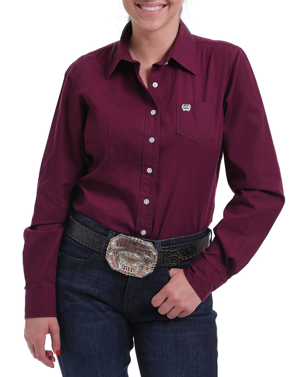 Pard's Western Shop Cinch Solid Burgundy Blouse for Women