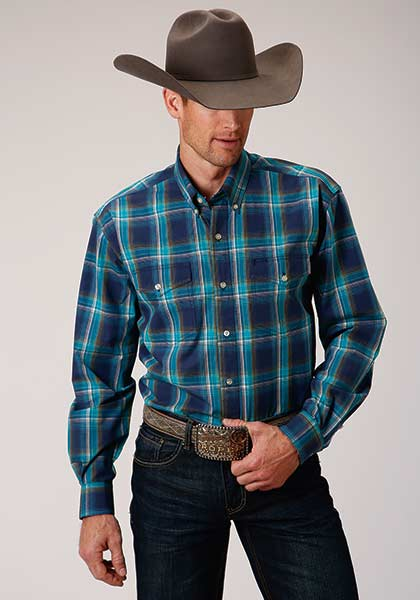 Amarillo Collection Blue Shadow Plaid Shirt for Men from Roper Apparel