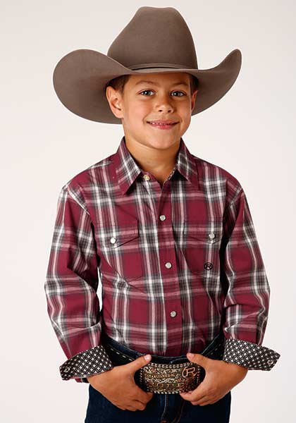 Boy's Amarillo Collection Red Rock Plaid Western Shirt from Roper Apparel