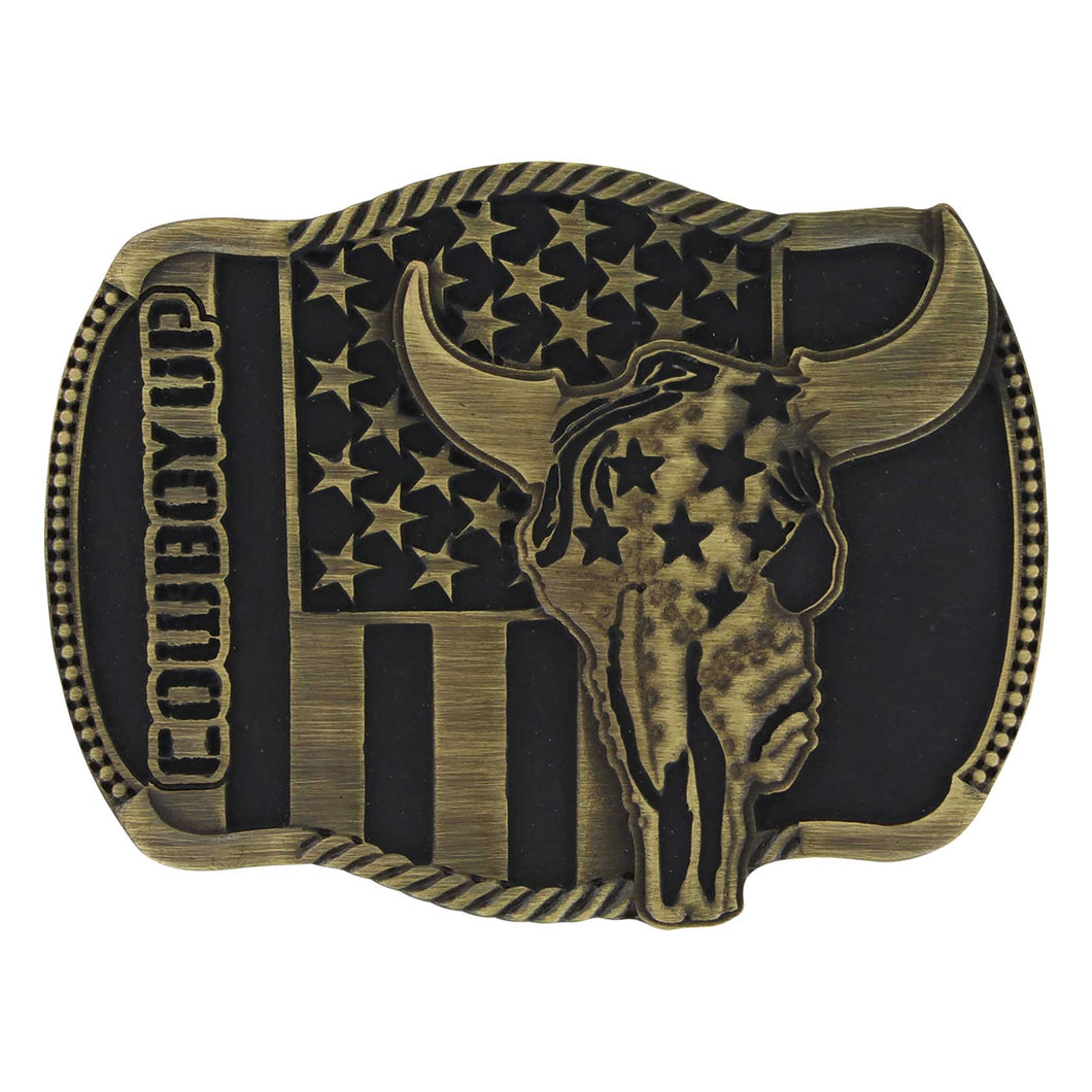 Pard's Western Shop Montana Silversmiths Cowboy Up Strength in Heritage Attitude Buckle