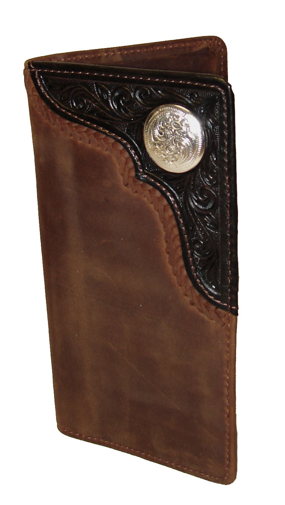 Silver Creek Tooled/Braided with Concho Bronc Buster Rodeo Wallet